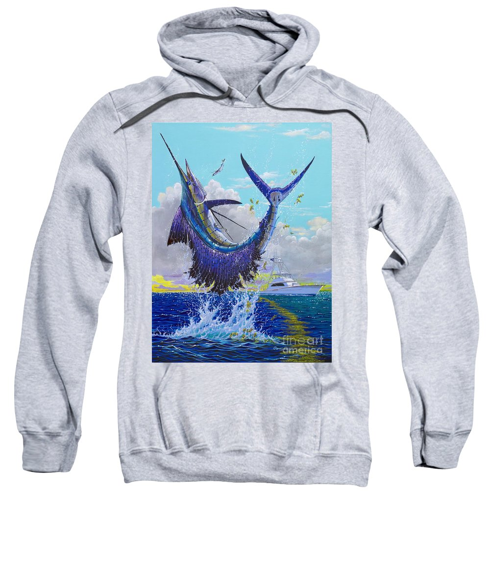 Sailfish Sweatshirt featuring the painting Hooked Up Off004 by Carey Chen