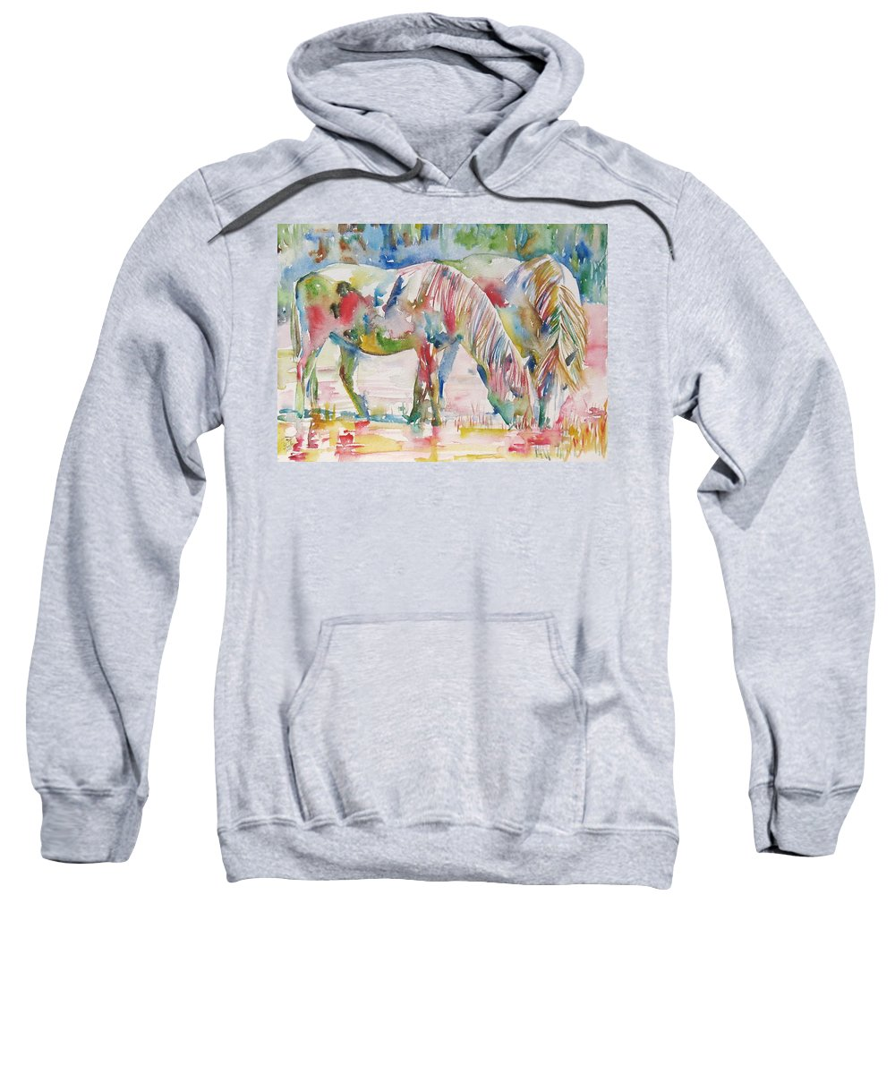 Horse Sweatshirt featuring the painting Horse Painting.27 by Fabrizio Cassetta