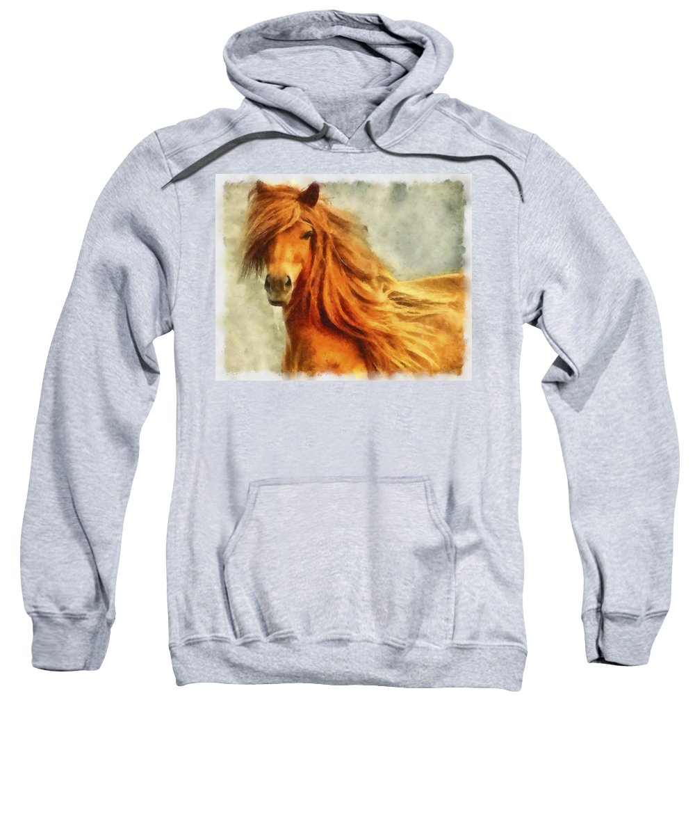 Watercolor Sweatshirt featuring the photograph Horse Two by Ingrid Smith-Johnsen