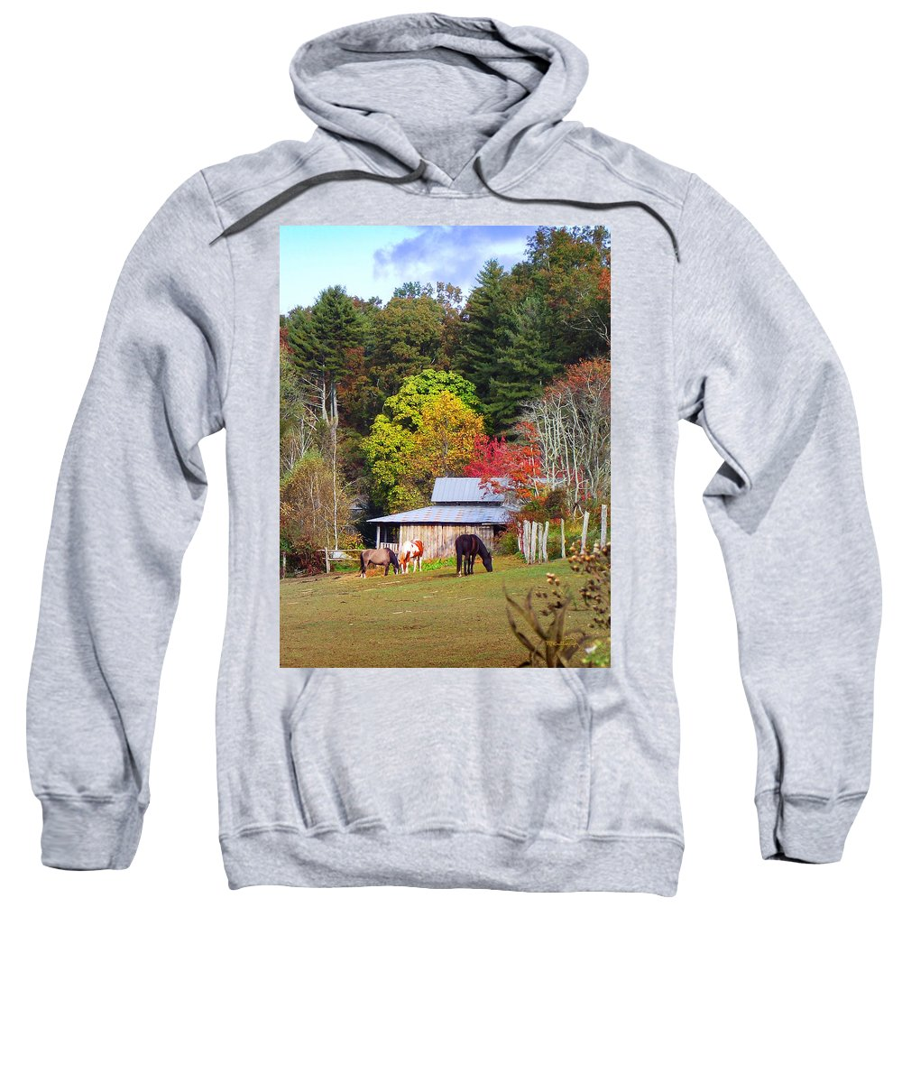 Duane Mccullough Sweatshirt featuring the photograph Horses And Barn In The Fall by Duane McCullough