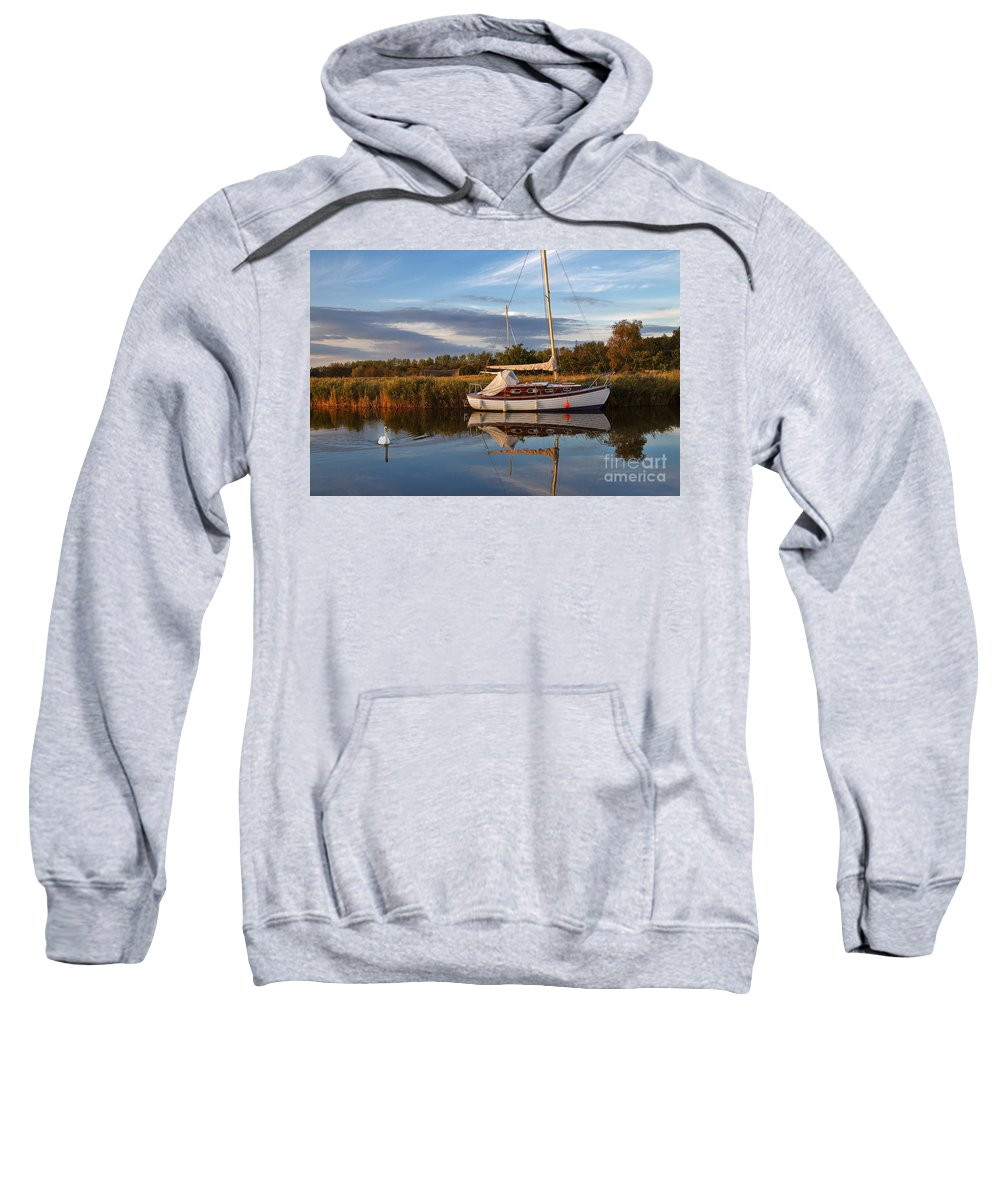 Travel Sweatshirt featuring the photograph Horsey Mere In Evening Light by Louise Heusinkveld