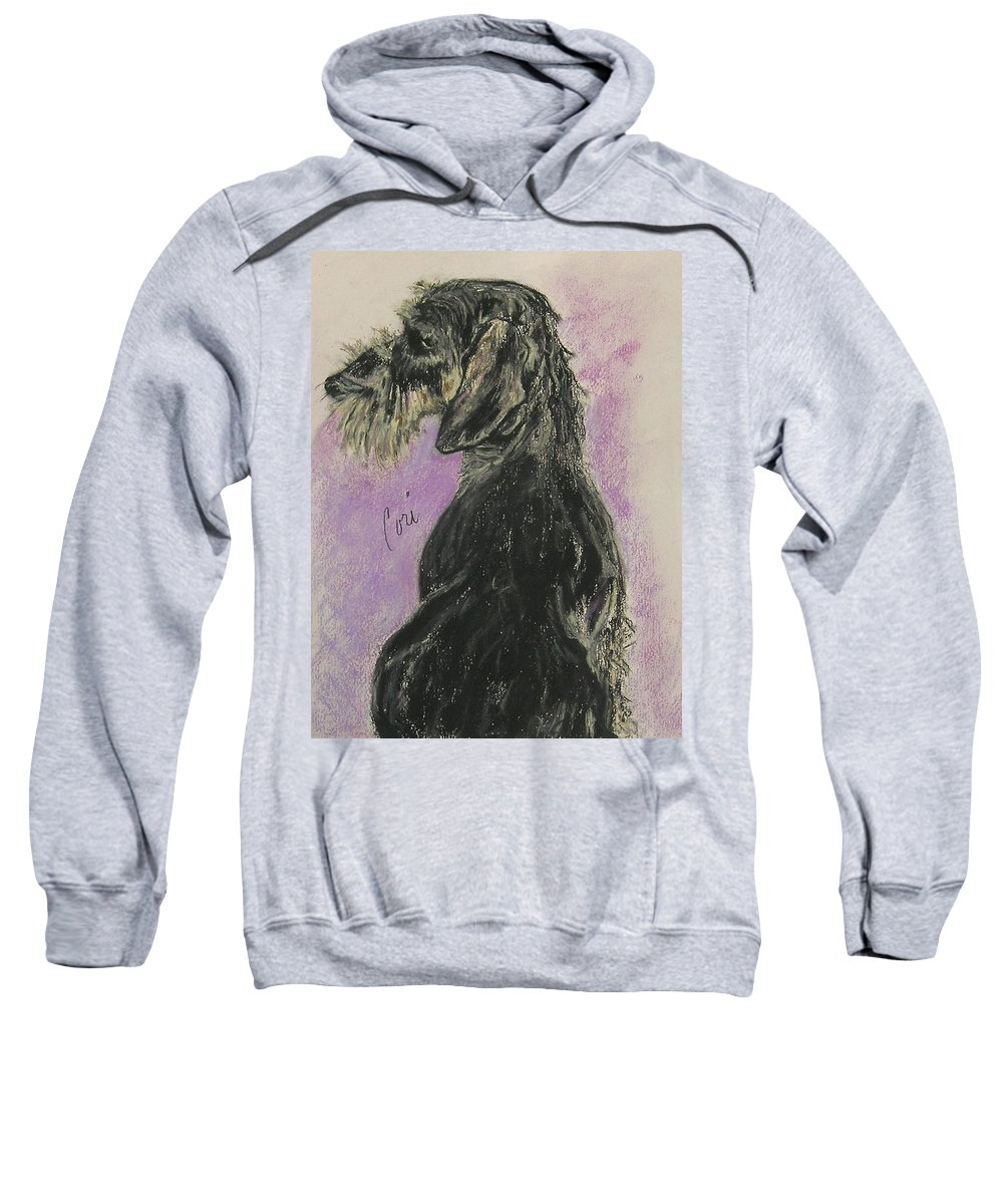 Dachshund Sweatshirt featuring the drawing Hot Wired by Cori Solomon
