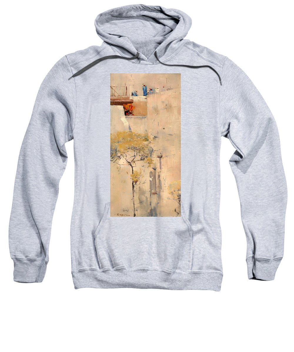 Painting Sweatshirt featuring the painting House Builders In Cairo by Mountain Dreams