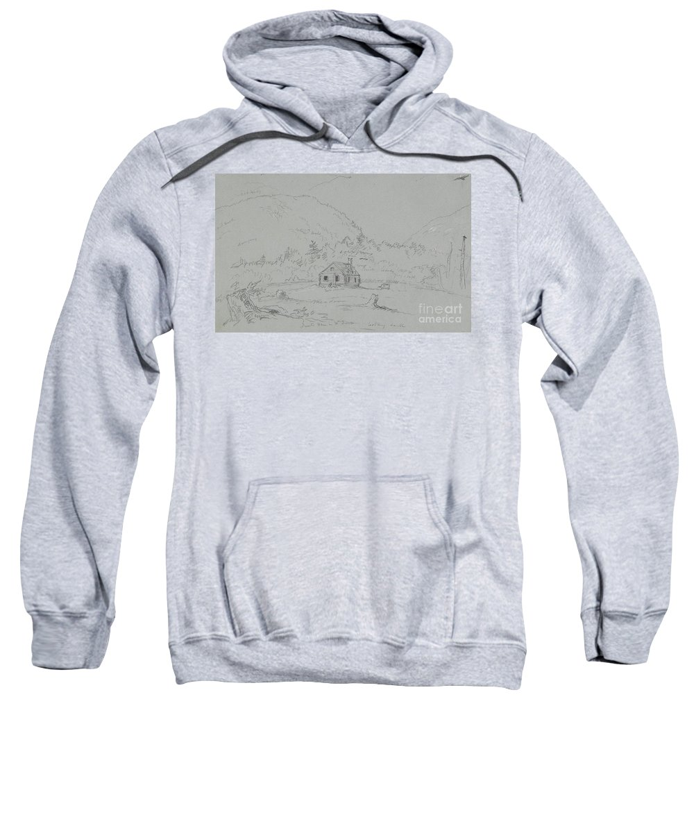 House; Mount; Desert; Mount Desert; Island; Hancock; County; Hancock County; Maine; Remote; Clapperboard; Clapboard; Hut; Shack; Rural; Countryside; Hill; Hills; Mountainous; America; American; Hudson River School; Drawing; Sketch; Study; Us; Usa; Ramshackle Sweatshirt featuring the drawing House In Mount Desert by Thomas Cole