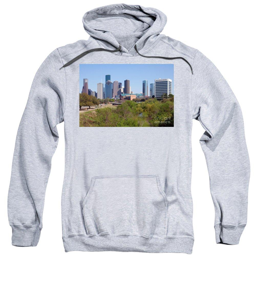 Houston Sweatshirt featuring the photograph Houston Skyline And Buffalo Bayou by Bill Cobb