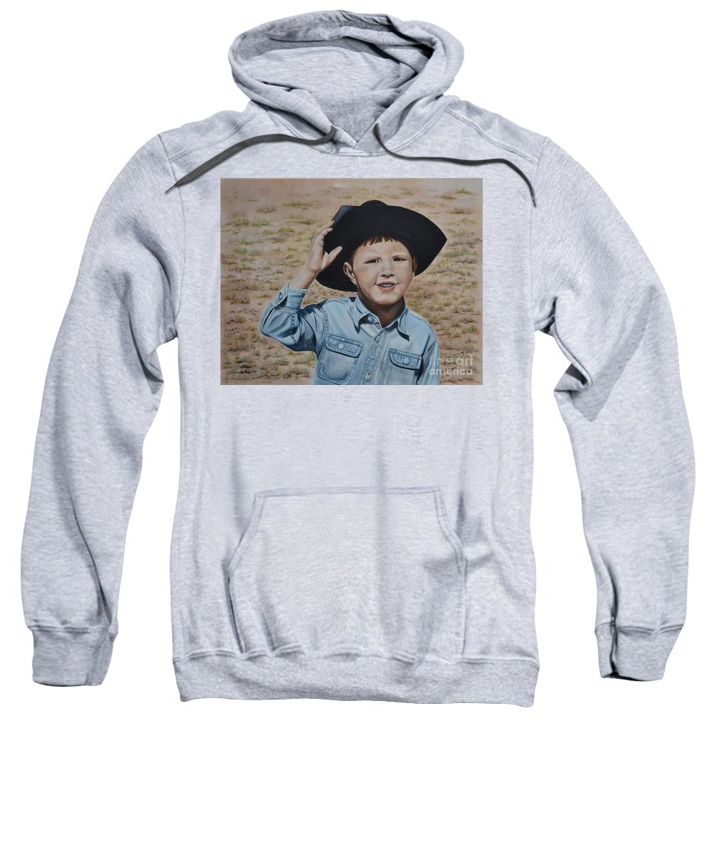 Usa Sweatshirt featuring the painting Howdy Ma'am by Mary Rogers