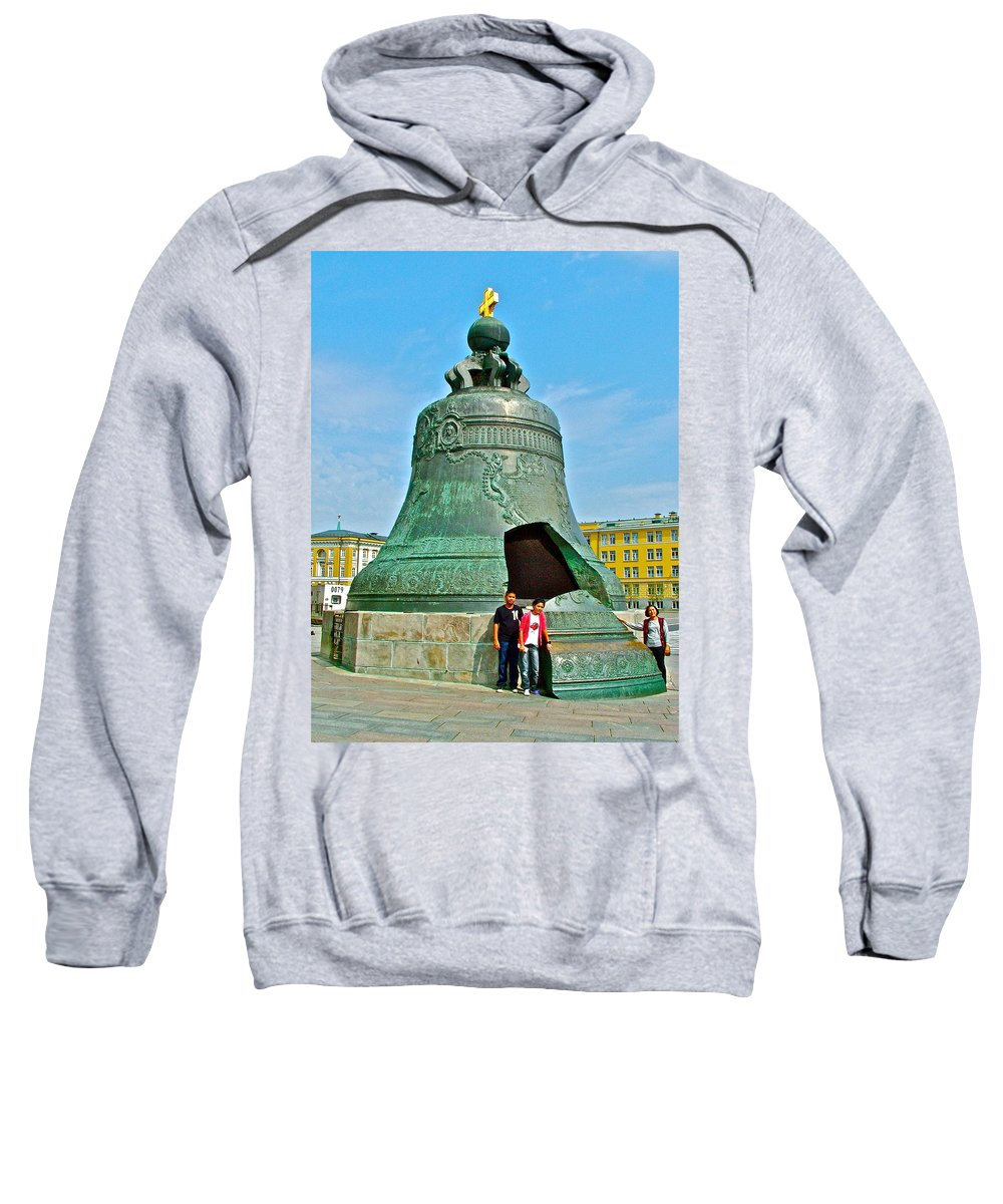 Huge Bell That Cracked In A Pit Inside The Kremlin Wall In Moscow Sweatshirt featuring the photograph Huge Bell That Cracked In A Pit Inside Kremlin Walls In Moscow-r by Ruth Hager