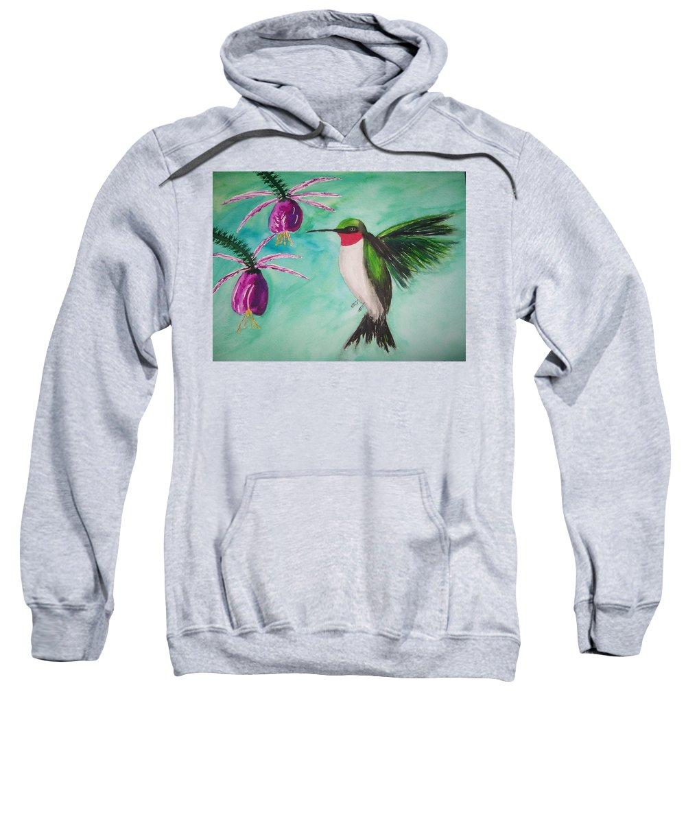 Wildlife Sweatshirt featuring the painting Hummer Simplicity by B Kathleen Fannin