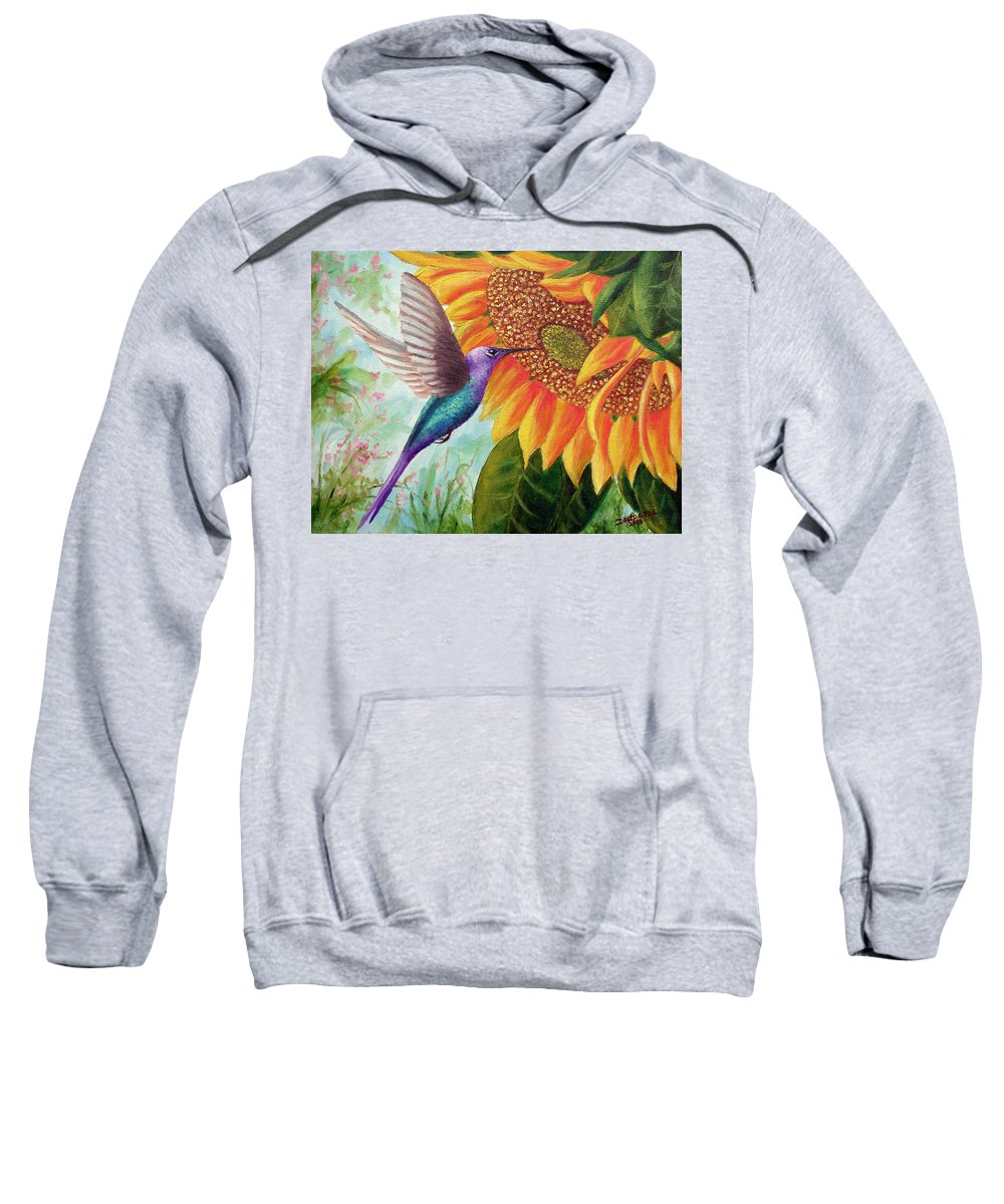 Hummingbird Sweatshirt featuring the painting Humming For Nectar by David G Paul