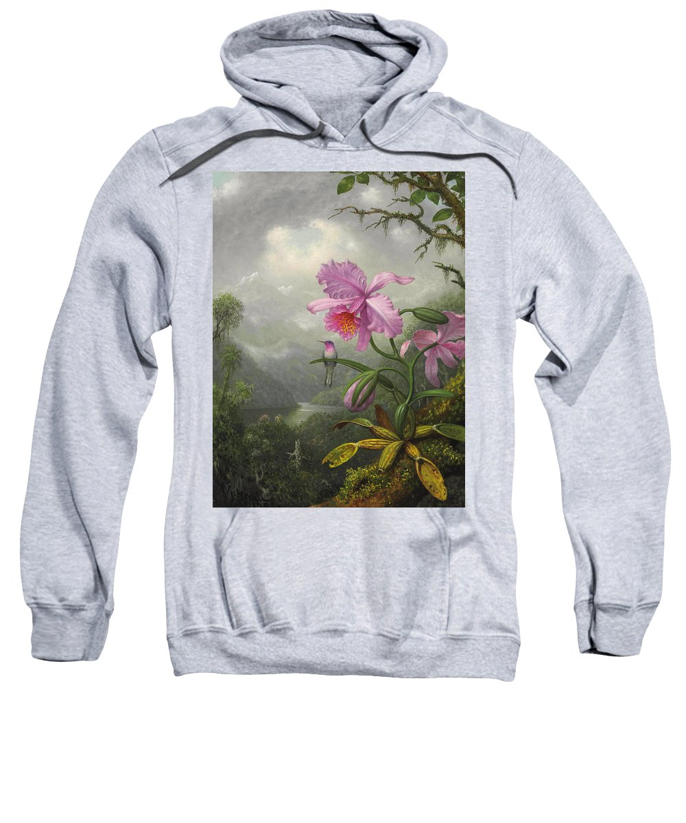 Orchid Sweatshirt featuring the painting Hummingbird Perched On The Orchid Plant by Martin Johnson Heade