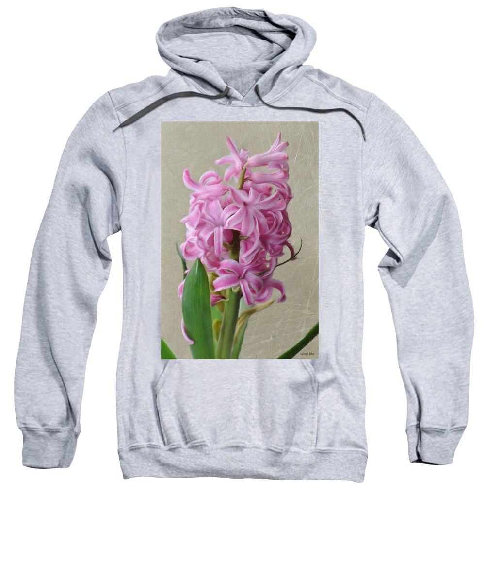 Bloom Sweatshirt featuring the painting Hyacinth Pink by Jeffrey Kolker