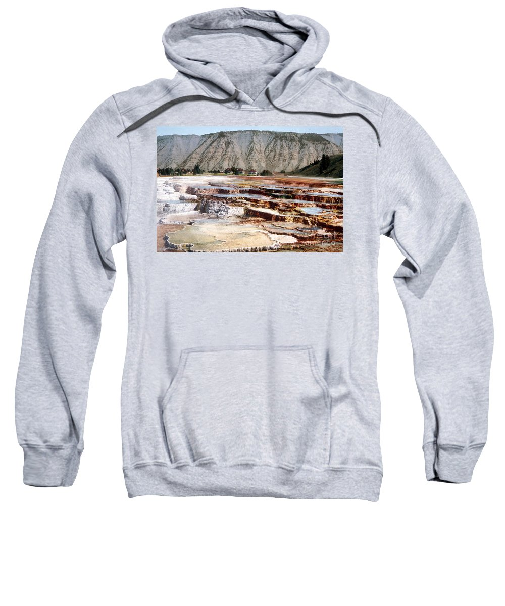 Hymen Terrace Sweatshirt featuring the photograph Hymen Terrace Yellowstone National Park by NPS Photo Detroit Photographic Co