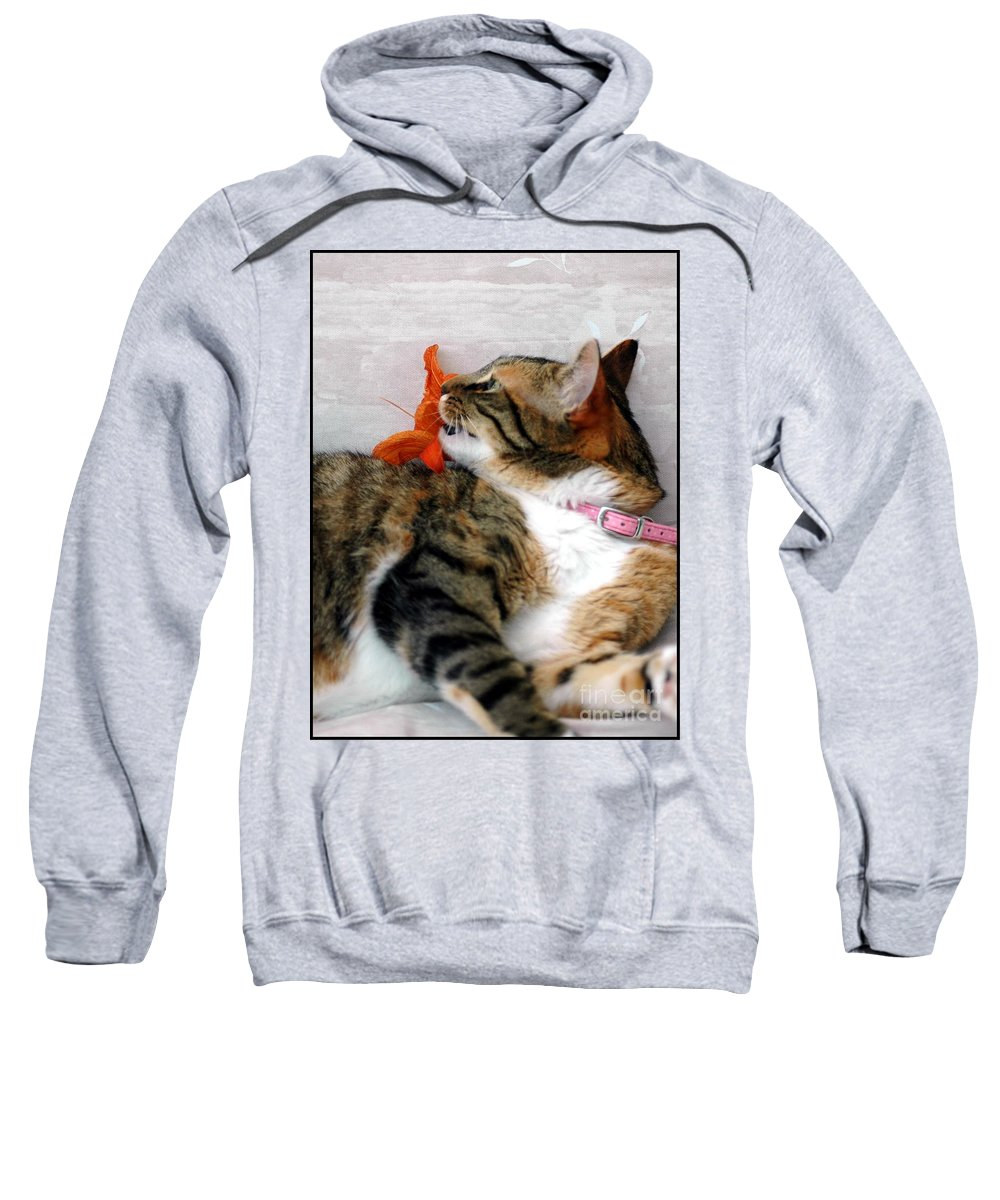 Cat Sweatshirt featuring the photograph I Am Done by Kathleen Struckle