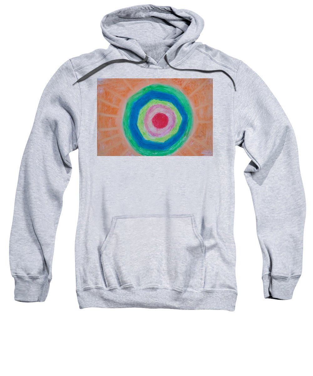 Circular Bands Sweatshirt featuring the painting I Am Here Because I Exist by Michael Woolcock