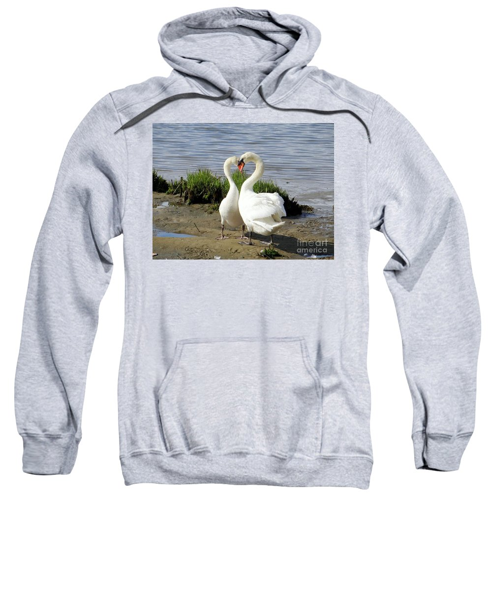 Swans Sweatshirt featuring the photograph I Heart You by Ed Weidman