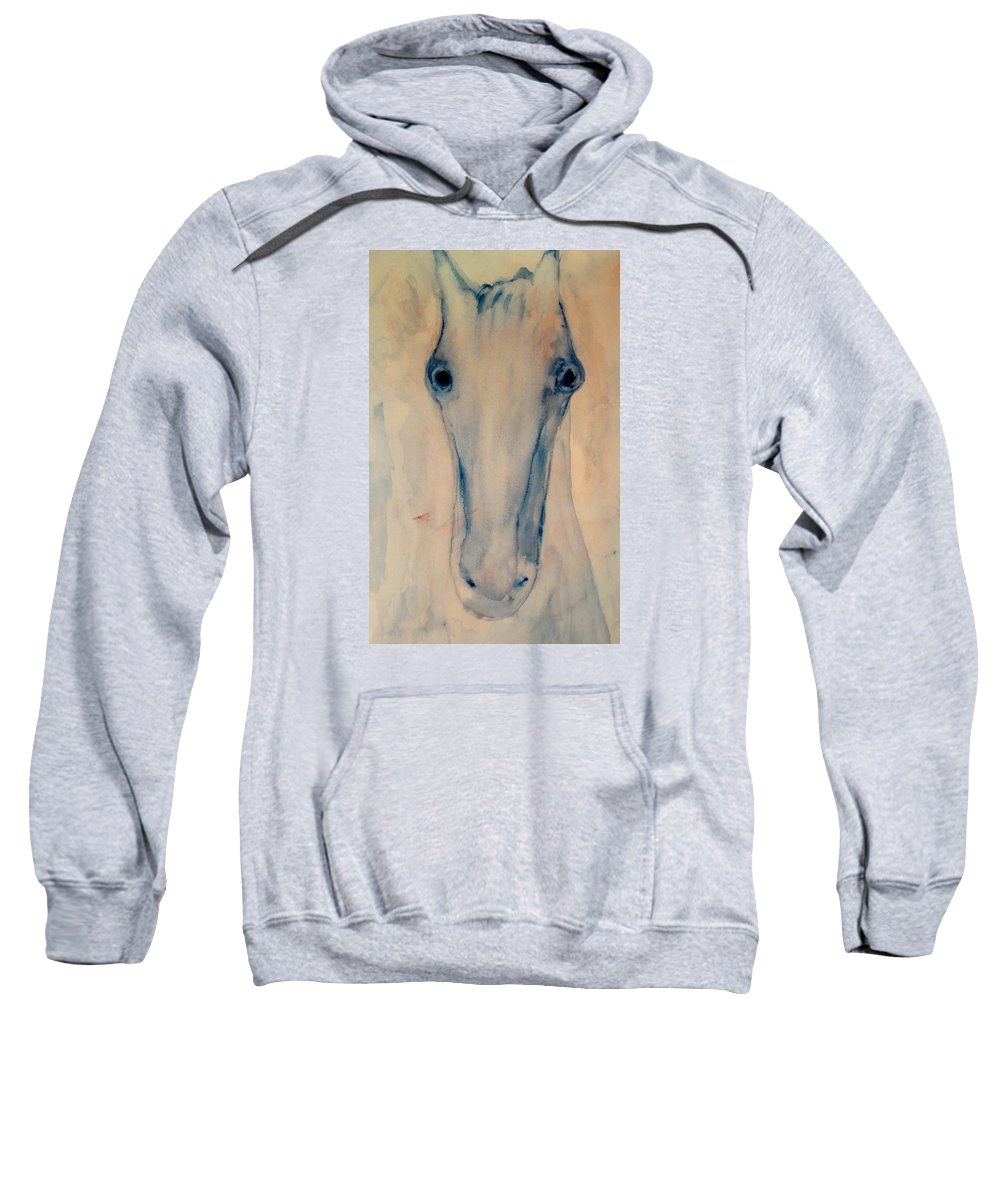Horse Sweatshirt featuring the painting I Will Carry You Anywhere As Long As You Love Me by Hilde Widerberg