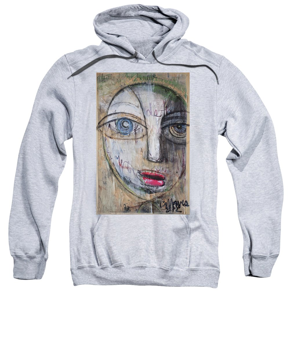 Pop Surrealism Sweatshirt featuring the painting I Will Not Abandon Me by Laurie Maves ART
