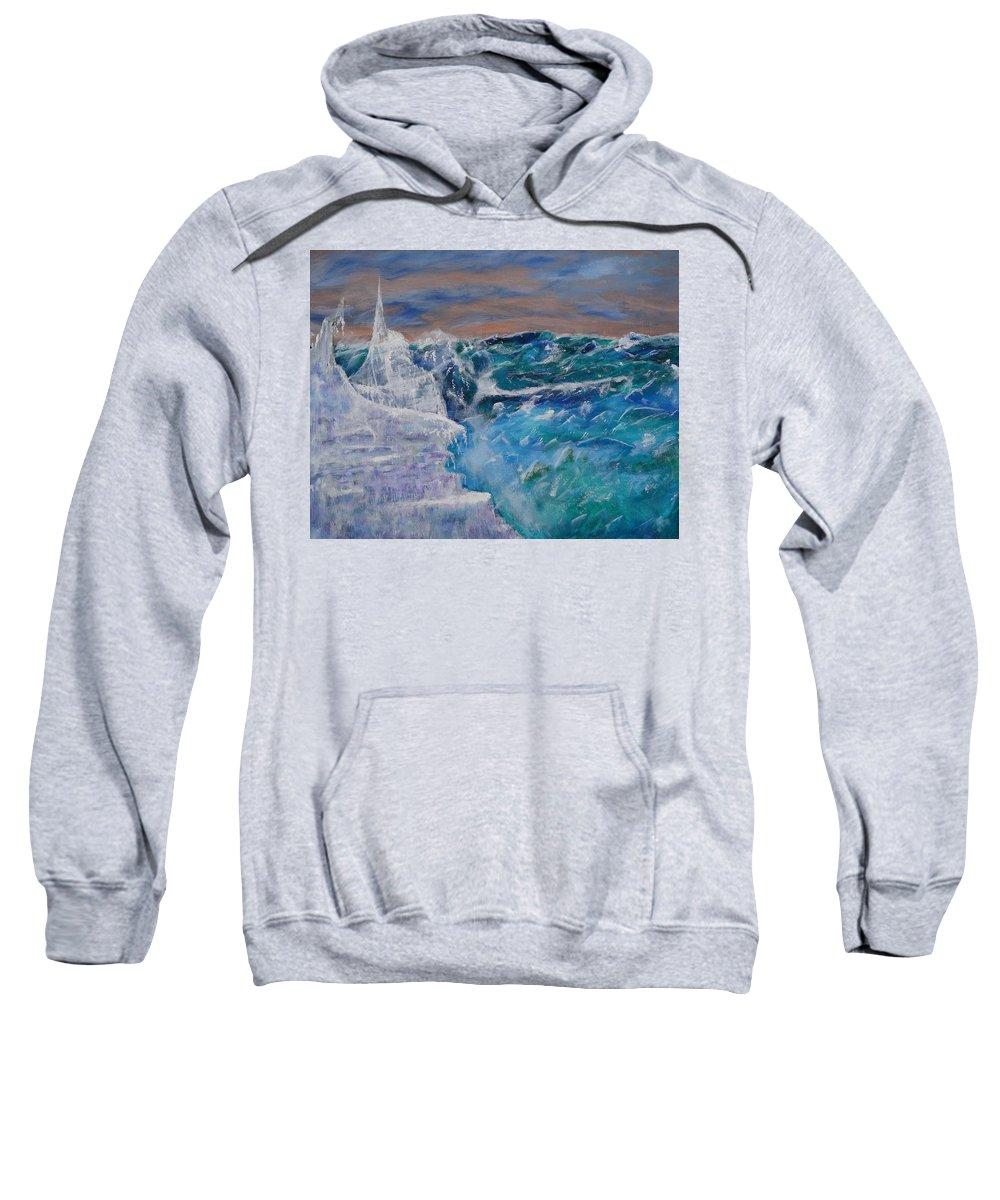 Ice Berg Sweatshirt featuring the painting Iceberg Awaits The Titanic by Carl S Kralich