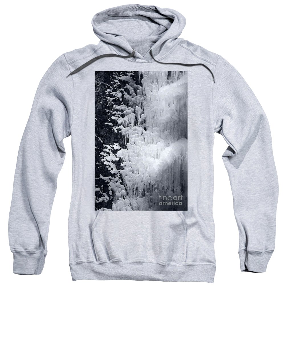 Ice Sweatshirt featuring the photograph Icy Cliff - Black And White by Carol Groenen