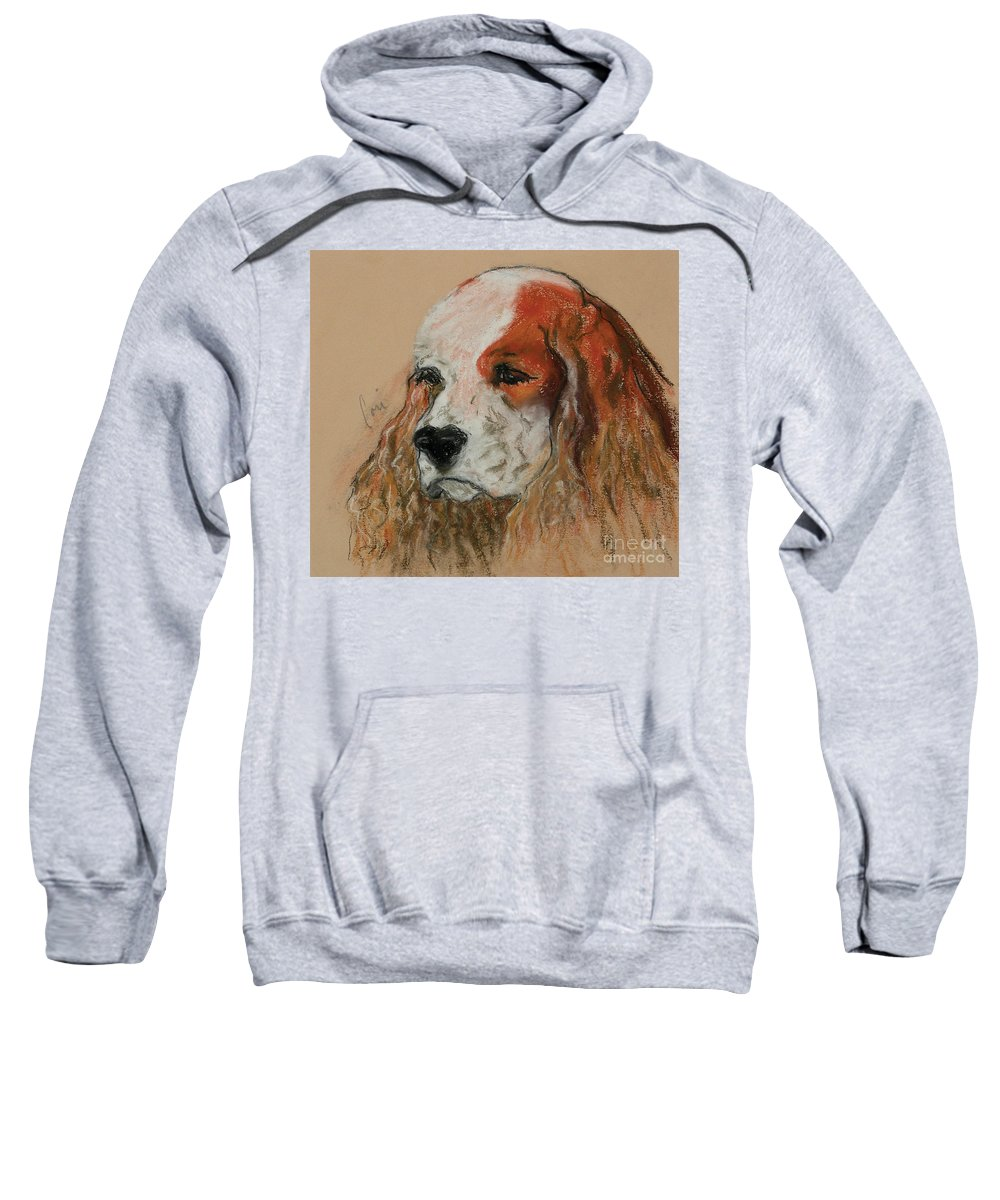 Dog Sweatshirt featuring the pastel Idle Thoughts by Cori Solomon
