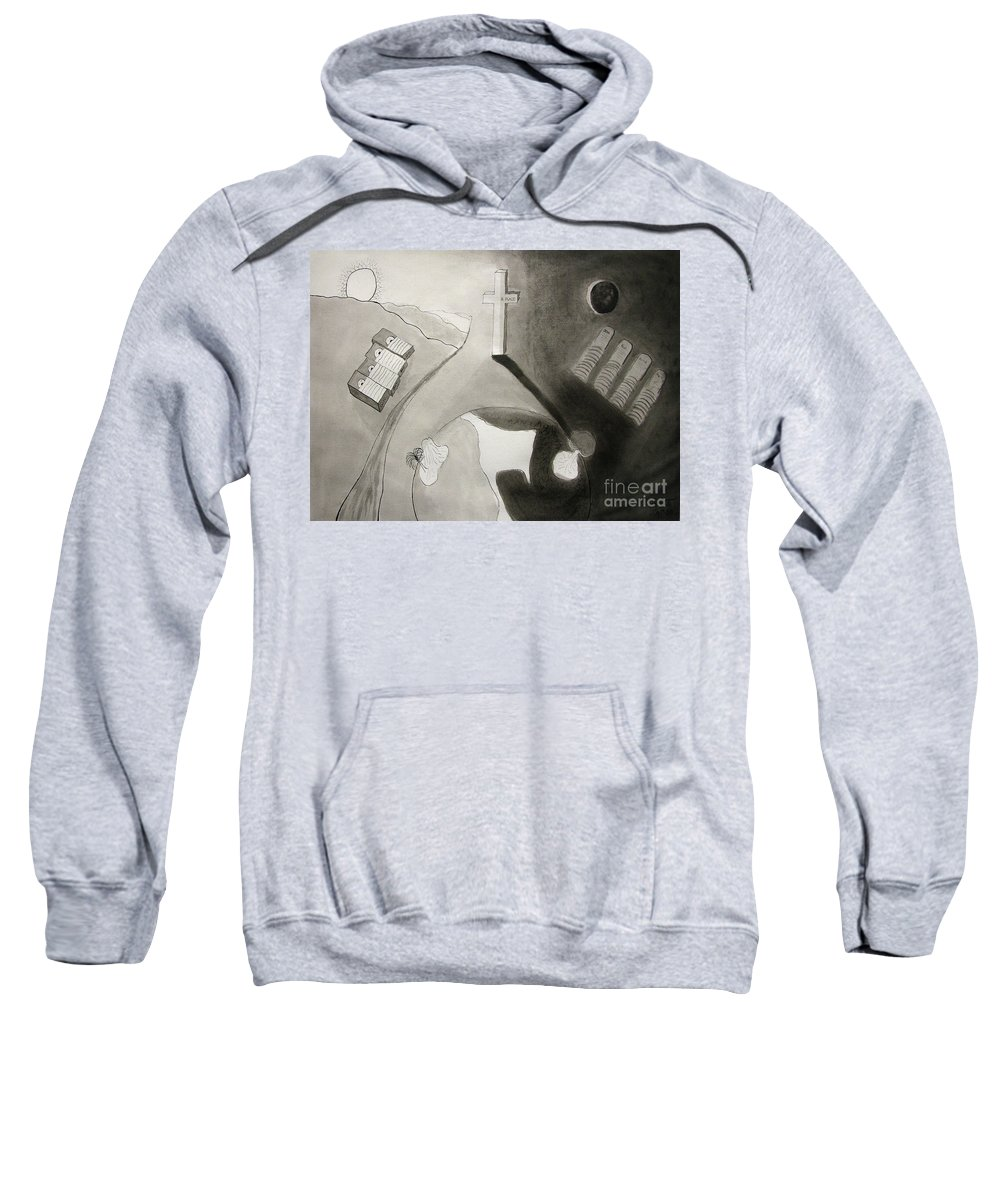 Crying Babies Sweatshirt featuring the painting If Not Left In Gods Hands by Peter Piatt