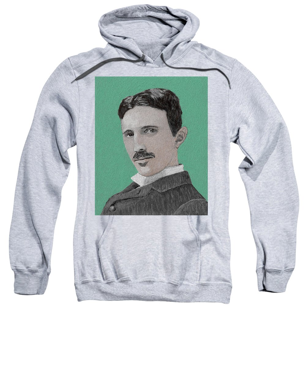 Nikola Tesla Sweatshirt featuring the painting If You Could Read My Mind...tesla by G Cannon