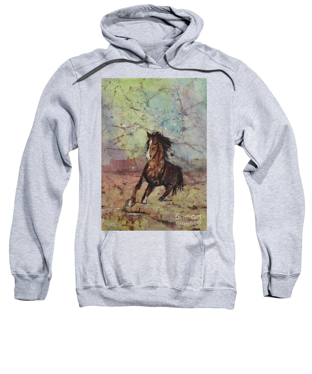Animal Painting Sweatshirt featuring the painting I'm Gonna Make That Bus If It's The Last Thing I Do by Ryan Fox