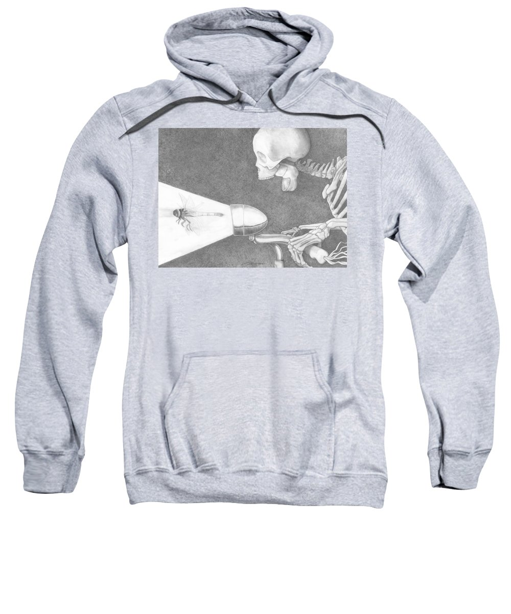 Bicycle Sweatshirt featuring the drawing Immortal by Rick Yost
