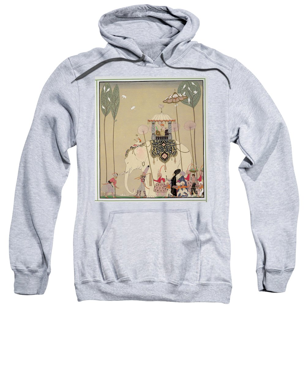 Elephant Sweatshirt featuring the painting Imperial Procession by Georges Barbier