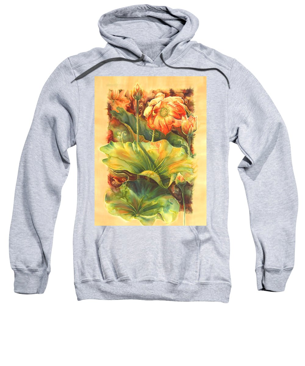 Flower Sweatshirt featuring the painting In Full Bloom by Deborah Younglao