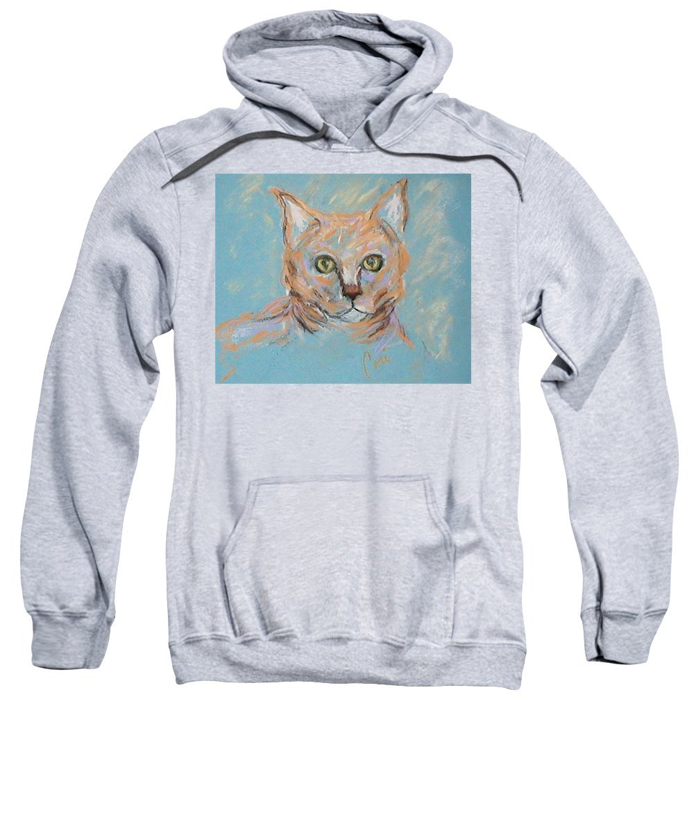 Cat Sweatshirt featuring the drawing In The Blue by Cori Solomon