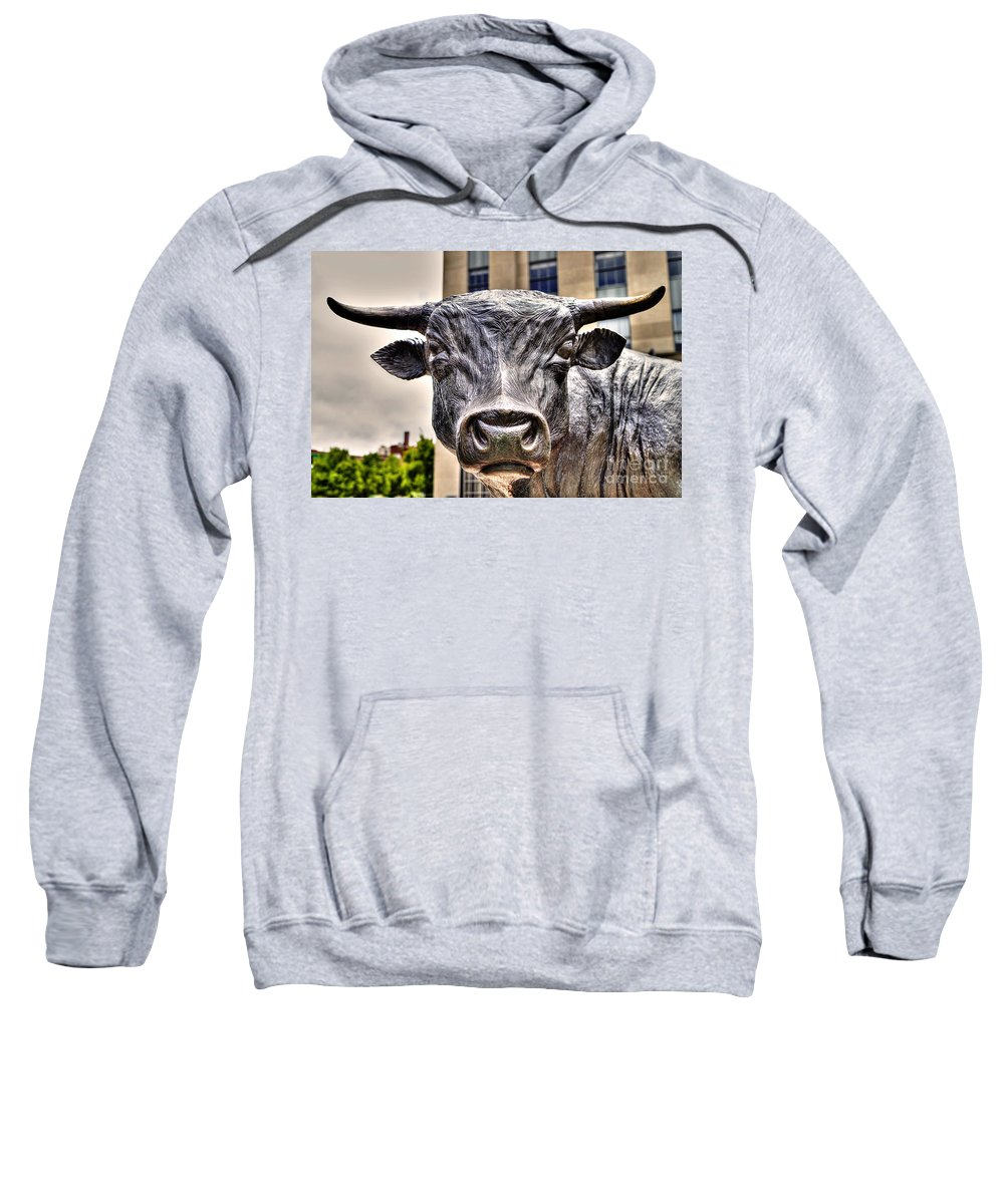 Durham Nc Sweatshirt featuring the photograph In The Eyes Of The Bull by Emily Kay
