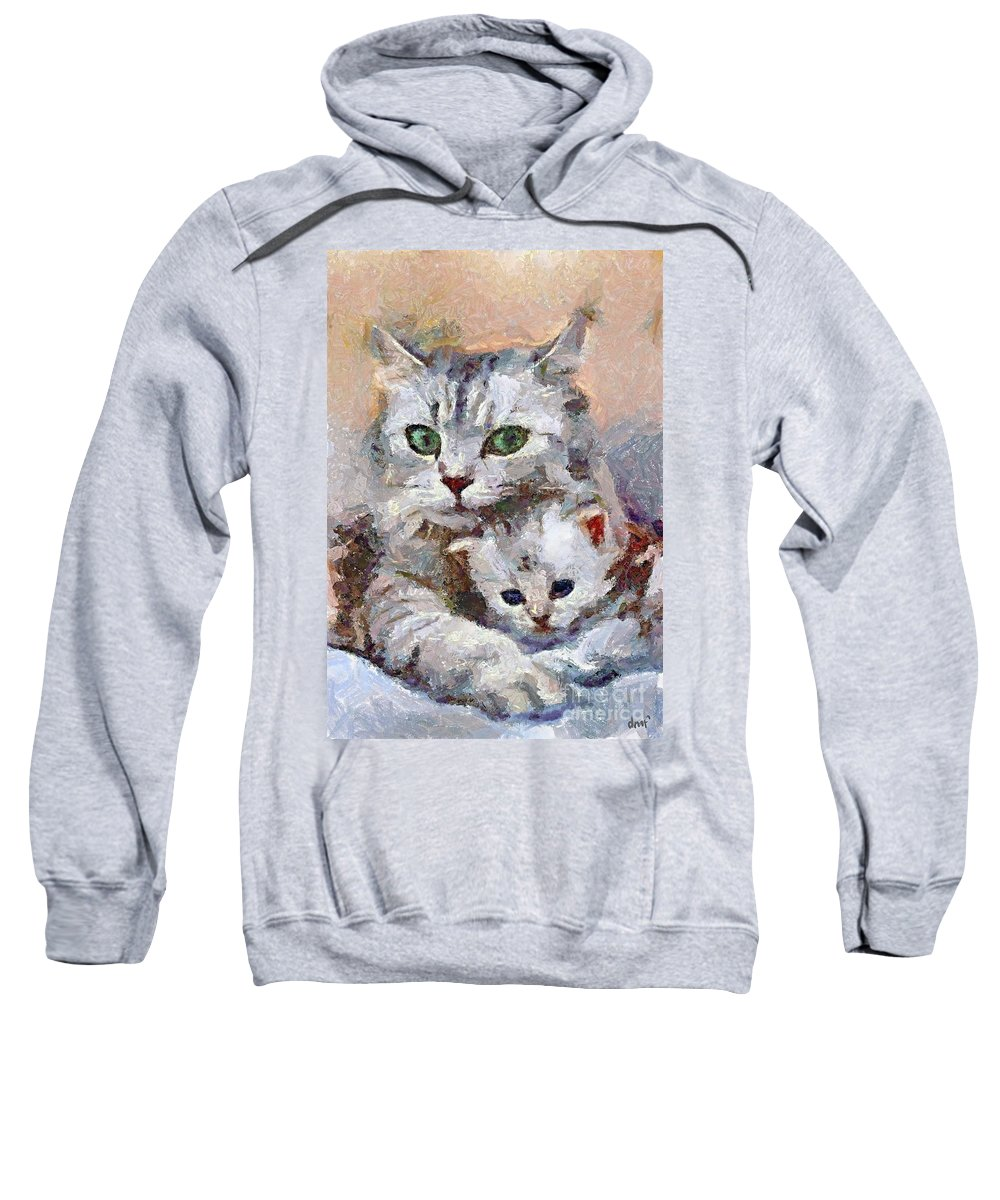Expression Sweatshirt featuring the painting In The Mothers Embrace by Dragica Micki Fortuna