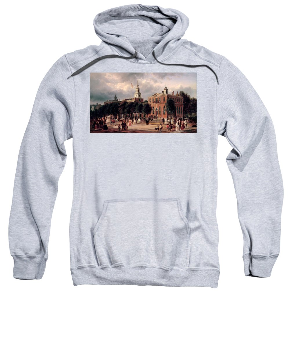 Ferdinand Richardt Sweatshirt featuring the painting Independence Hall In Philadelphia by Ferdinand Richardt