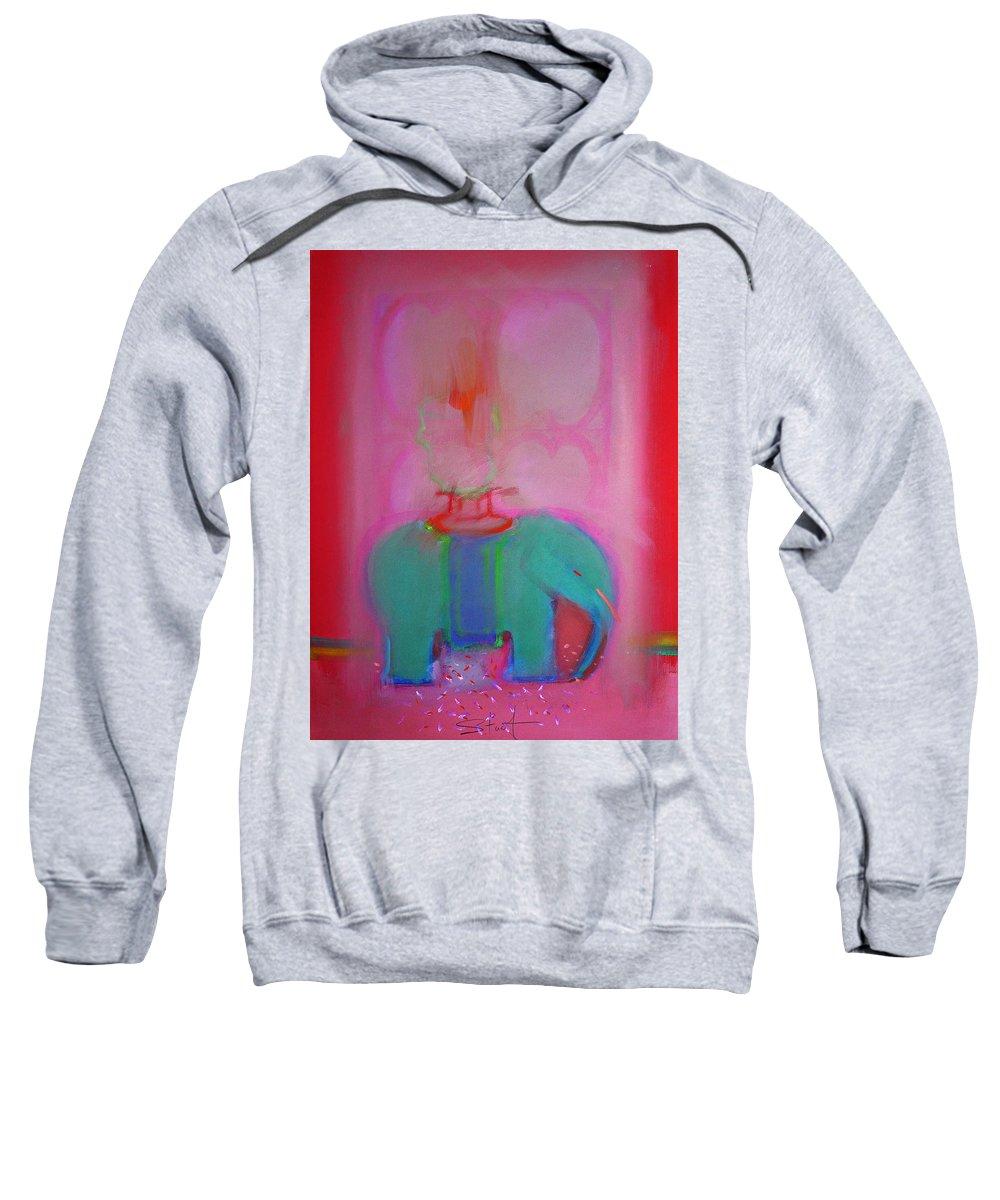 Elephant Sweatshirt featuring the painting Indian Elephant by Charles Stuart