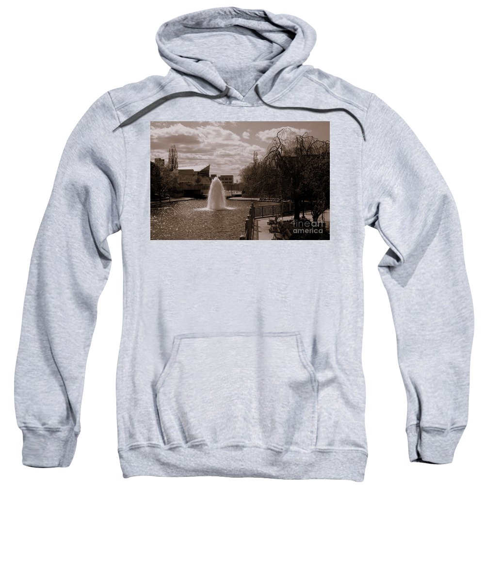 Downtown Indy Canal Sweatshirt featuring the photograph Indianapolis Canal by Kitrina Arbuckle