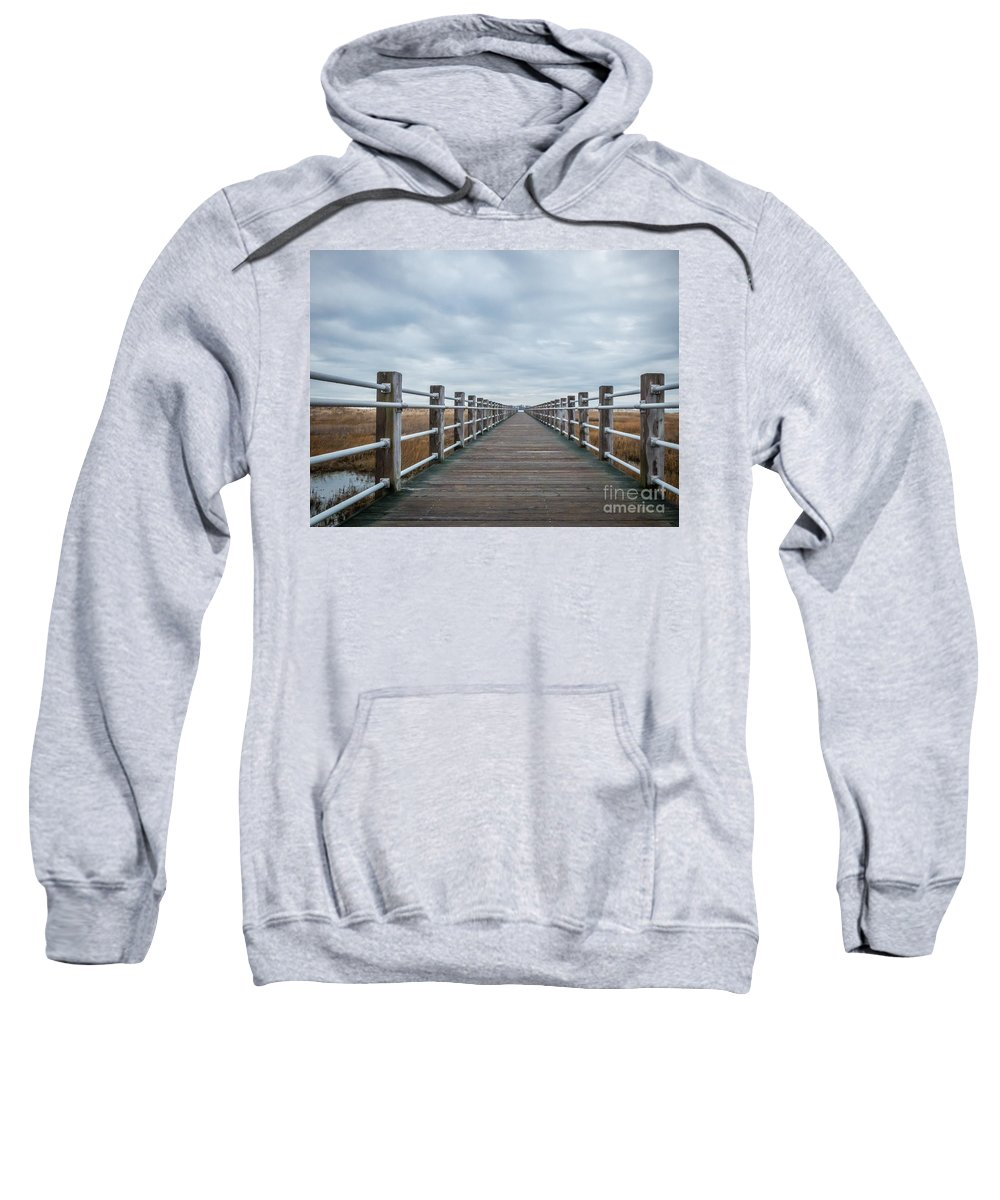 New England Sweatshirt featuring the photograph Infinite Boardwalk by DAC Photography