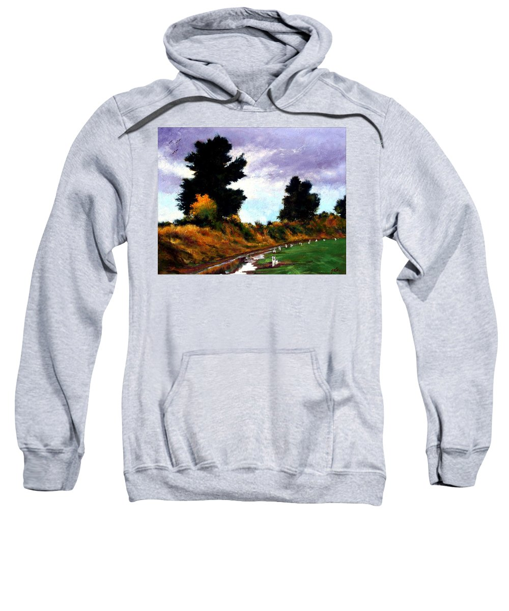 Landscape Sweatshirt featuring the painting Inside The Dike by Jim Gola