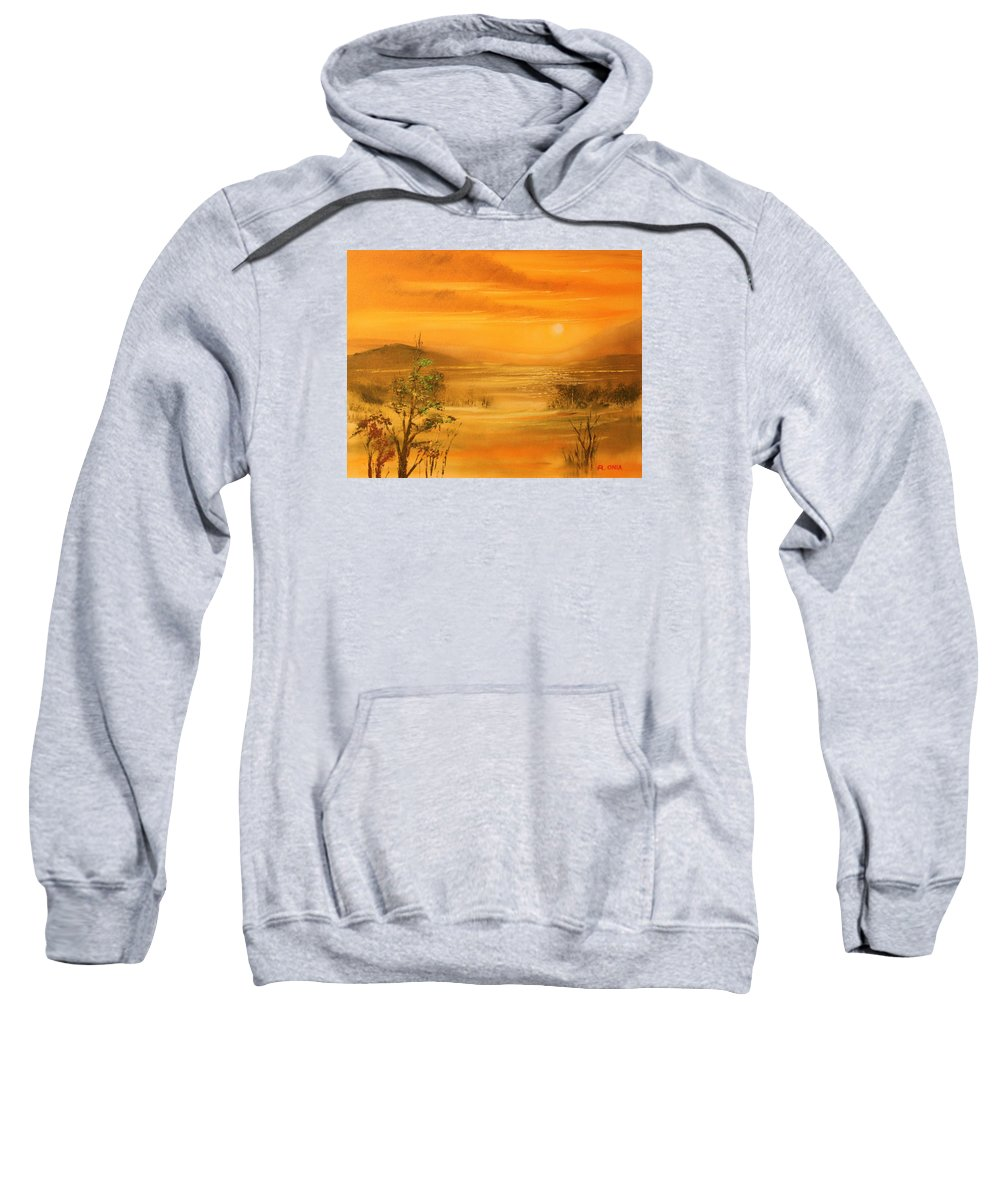 Sunset Sweatshirt featuring the painting Intense Orange by Remegio Onia