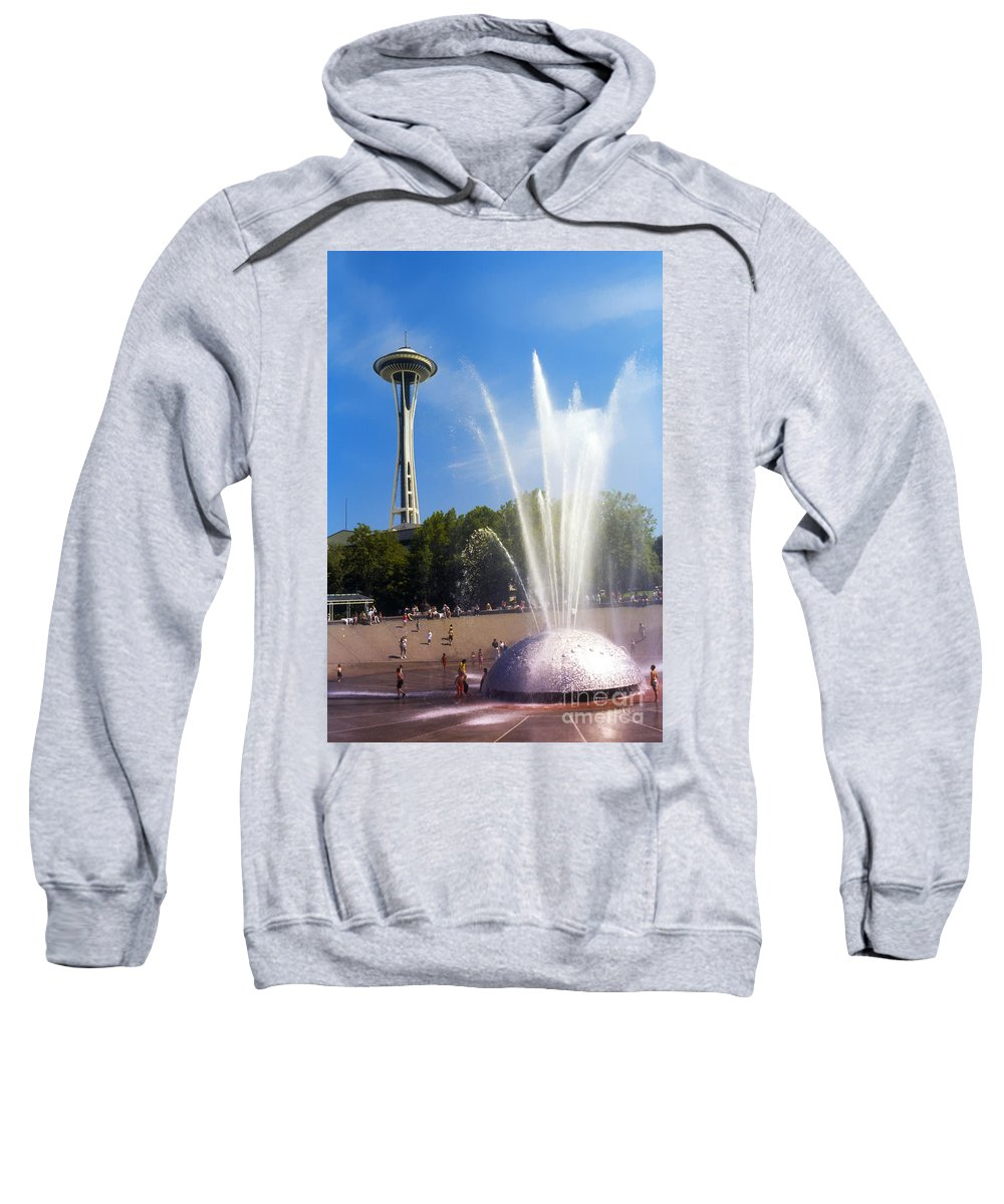 Seattle Center Sweatshirt featuring the photograph International Fountain And Space Needle by Bob Phillips