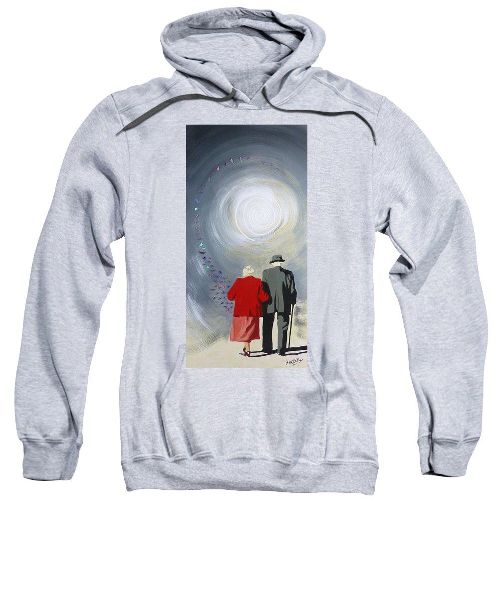 Hanzer Art. Susco.senior Couple Sweatshirt featuring the painting Into The Light by Jack Hanzer Susco