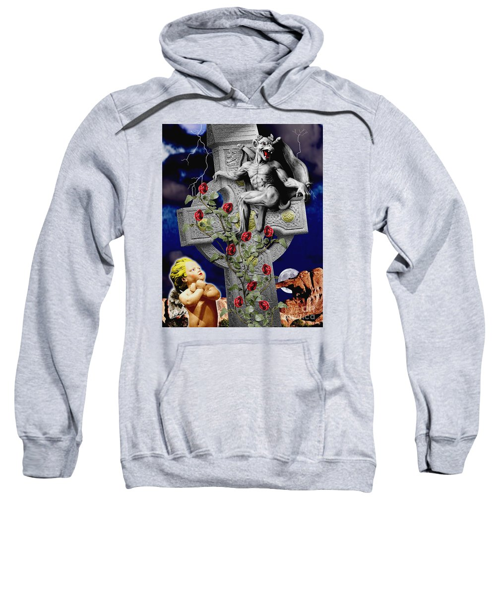 Irish Sweatshirt featuring the digital art Irish Devil by Keith Dillon
