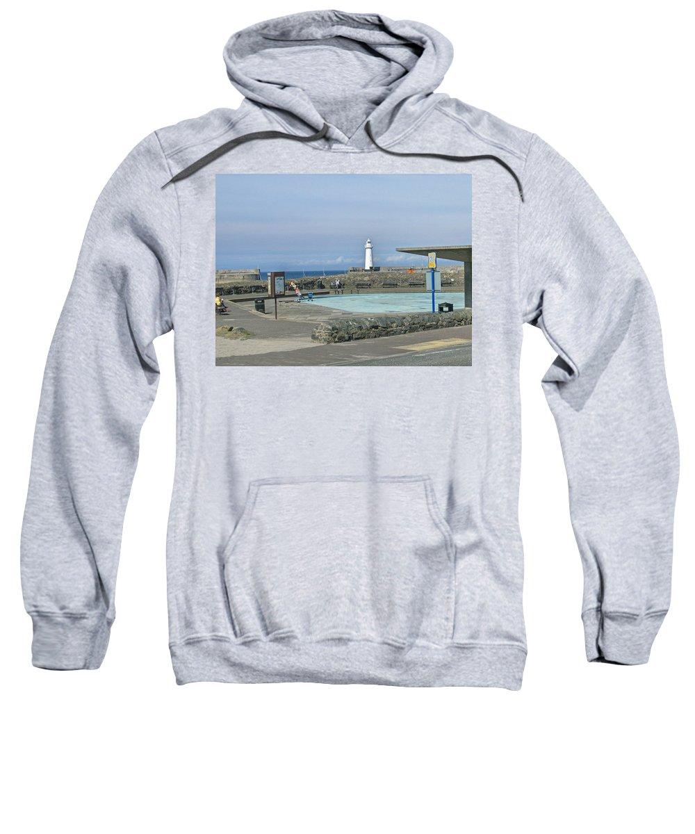 Irish Sweatshirt featuring the photograph Irish Sea Lighthouse On Pier by Brenda Brown