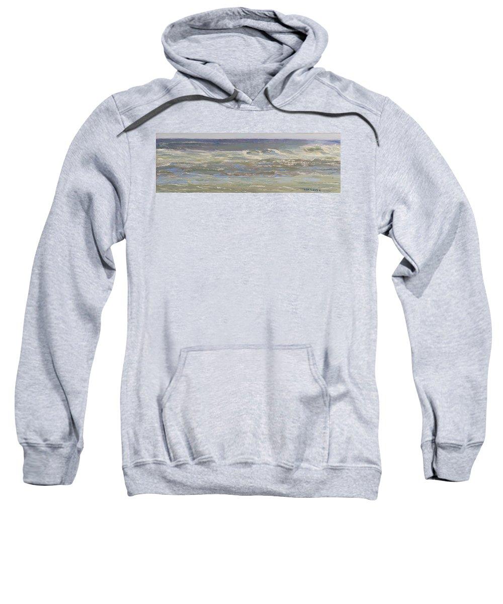 Seascape Sweatshirt featuring the painting Island Beach Waves by Lea Novak