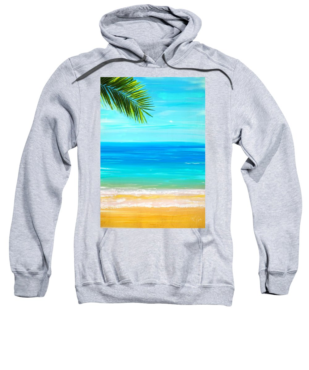 Seascapes Abstract Sweatshirt featuring the painting Island Paradise by Lourry Legarde