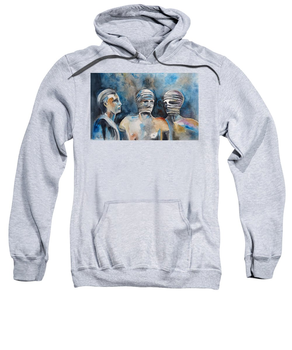 Italy Sweatshirt featuring the painting Italian Sculptures 03 by Miki De Goodaboom