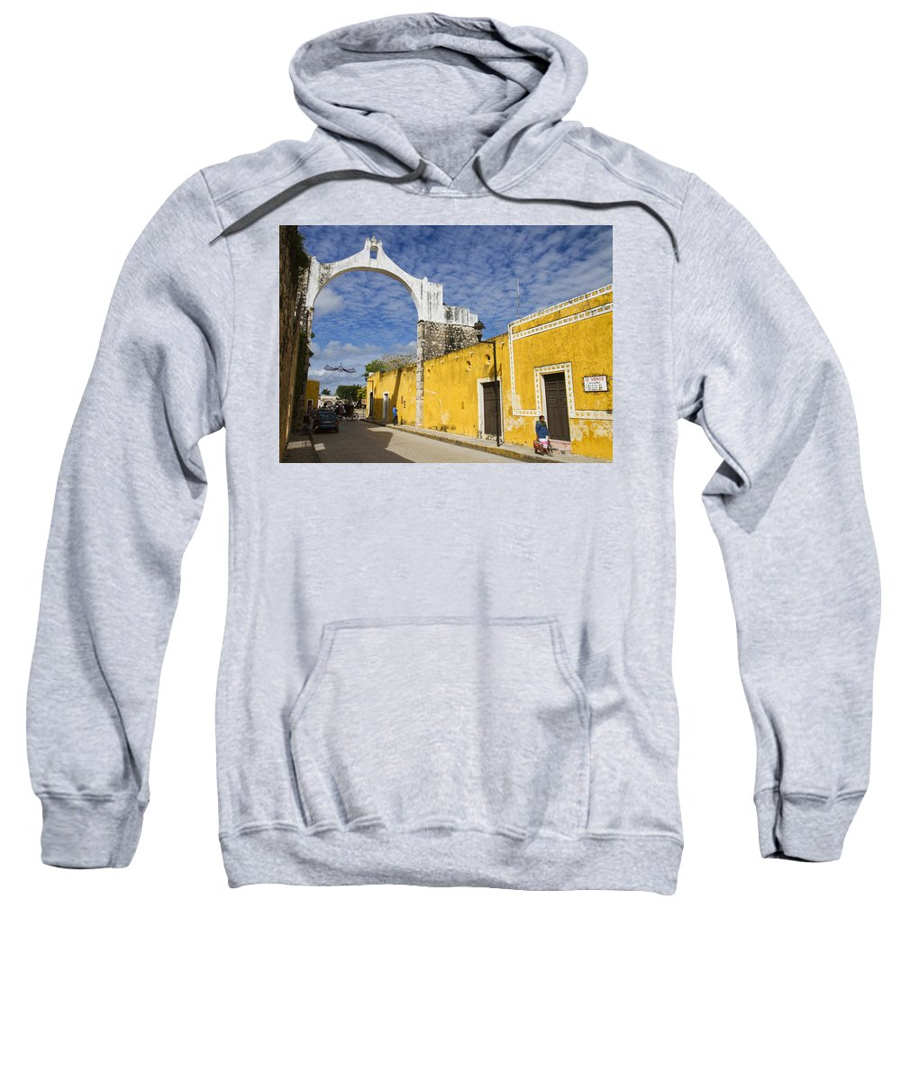 Yucatan Sweatshirt featuring the photograph Izamal And It's Famous Arch by For Ninety One Days
