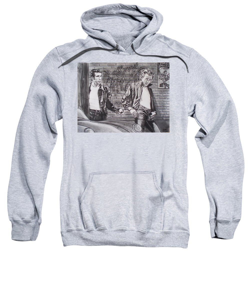 Americana Sweatshirt featuring the drawing James Dean Meets The Fonz by Sean Connolly