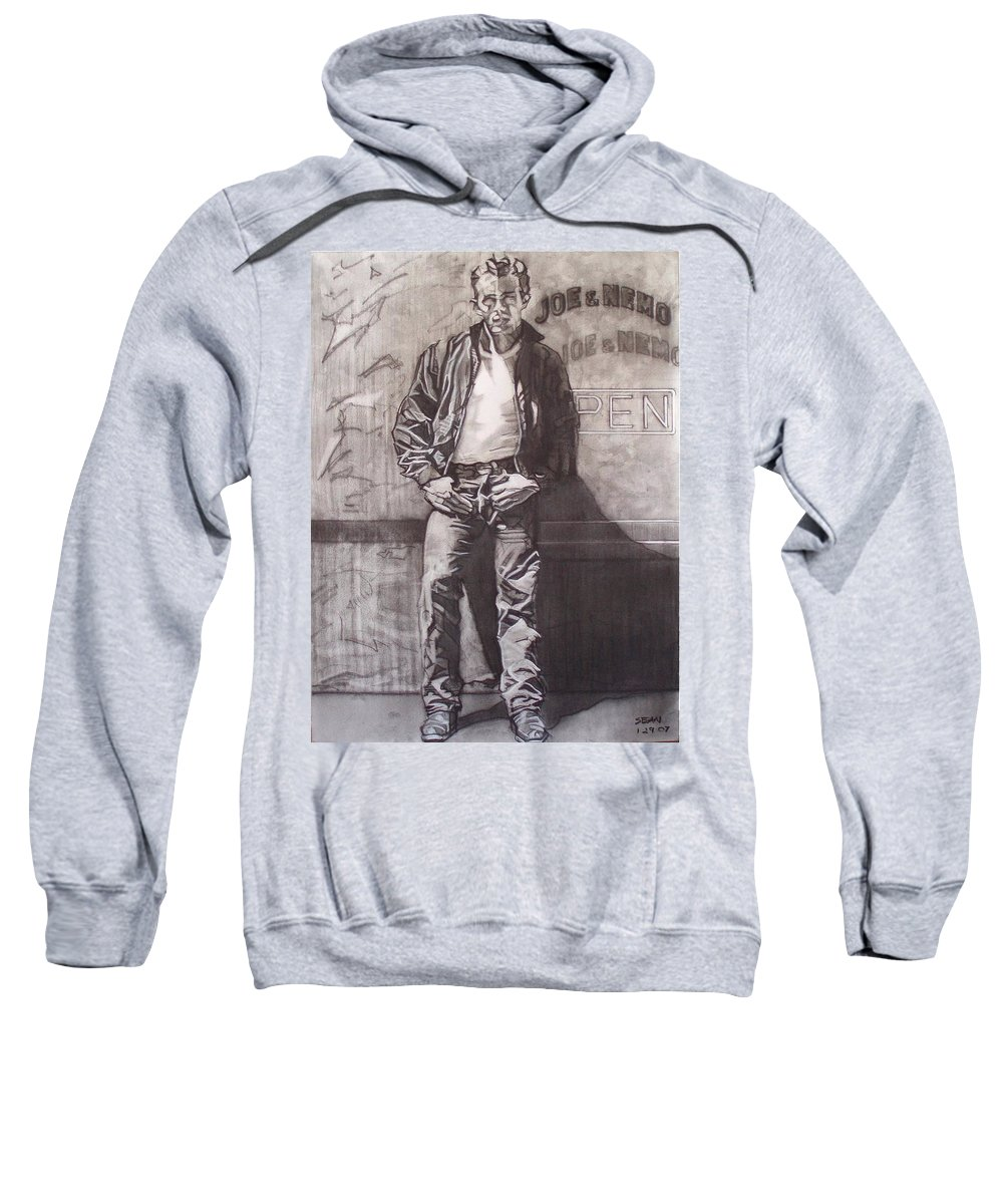 Charcoal; Icon;americana;cool;window;sidewalk;street;rock And Roll;jeans;t-shirt;diner;movie Star Sweatshirt featuring the drawing James Dean by Sean Connolly