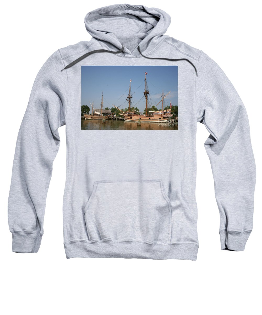 Ship Sweatshirt featuring the photograph Jamestown Historic Sailingships by Christiane Schulze Art And Photography